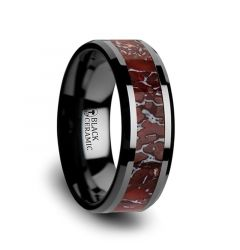 TRIASSIC Red Dinosaur Bone Inlaid Black Ceramic Beveled Edged Ring - 4mm & 8mm