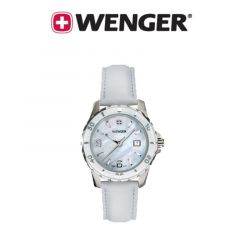 Wenger® Ladies White Mother of Pearl Sports Watch with Leather Strap