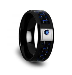 ODELL Black Ceramic Ring with Black and Blue Carbon Fiber and Blue Sapphire Setting - 8mm