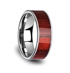 SHERWOOD Flat Tungsten Carbide Band with Exotic Brazilian Rose Wood Inlay and Polished Edges - 8mm