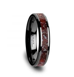 TRIASSIC Red Dinosaur Bone Inlaid Black Ceramic Beveled Edged Ring