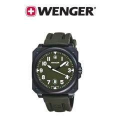 Wenger® Mens Aerograph Cockpit Rectangle Dial Rubber Strap Watch - Army Green