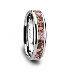 ARCHEAN Pink Dinosaur Bone Inlaid Tungsten Carbide Beveled Edged Ring - 4mm