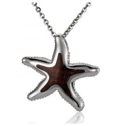 "Sterling Silver Koa Wood Starfish Pendant 18"" Necklace"