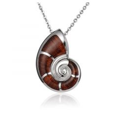 "Sterling Silver Koa Wood Nautilus Seashell Pendant 18"" Necklace"