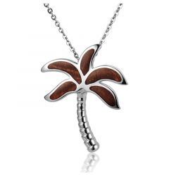 "Sterling Silver Koa Wood Palm Tree Pendant18"" Necklace"