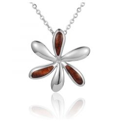 "Sterling Silver Koa Wood Offset Inlay Tiare Flower Pendant 18"" Necklace"