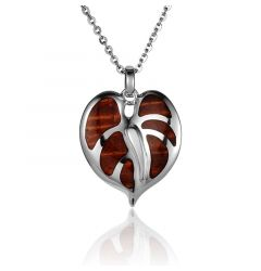 "Sterling Silver Koa Wood Stylish Anthurium Flower Pendant 18"" Necklace"