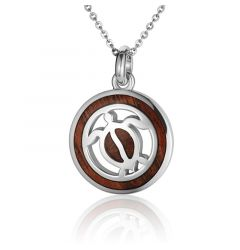 "Sterling Silver Koa Wood Circle Honu Turtle Pendant 18"" Necklace"