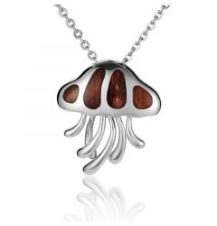"Sterling Silver Koa Wood Wild Tentacles Jellyfish Pendant 18"" Necklace"