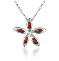 "Sterling Silver Koa Wood Plumeria Flower Pendant 18"" Necklace"