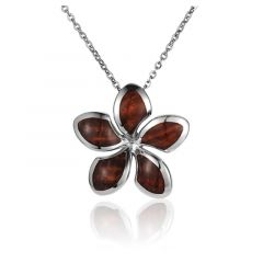 "Sterling Silver Koa Wood Stylish Plumeria Flower Pendant 18"" Necklace"