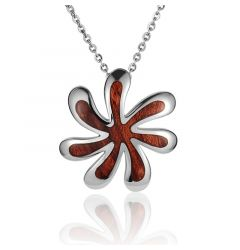 "Sterling Silver Koa Wood Twisting Tiare Flower Pendant 18"" Necklace"