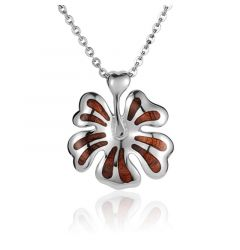 "Sterling Silver Koa Wood Stylish Hibiscus Flower Pendant 18"" Necklace"
