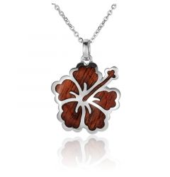 "Sterling Silver Koa Wood Intricate Hibiscus Pendant 18"" Necklace"