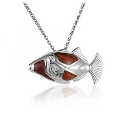 "Sterling Silver Koa Wood Humuhumunukunukuapua's Fish Pendant 18"" Necklace"