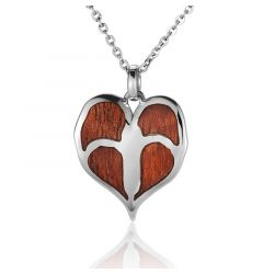 "Sterling Silver Koa Wood Anthurium Flower Pendant 18"" Necklace"