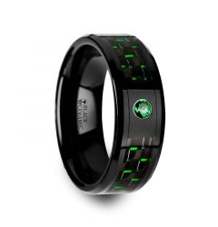HADAR Black Ceramic Ring with Black and Green Carbon Fiber and Green Emerald Setting - 8mm