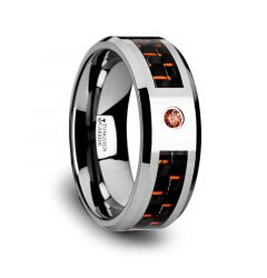 NOAH Tungsten Ring with Black and Orange Carbon Fiber and Orange Padparadscha Stone Setting - 8mm