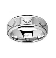 Spinning Engraved Deer Antlers Tungsten Carbide Spinner Wedding Band - 8mm