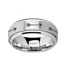 Spinning Engraved Arrow Tungsten Carbide Spinner Wedding Band - 8mm