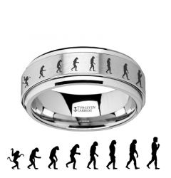 Spinning Engraved Human Evolution Tungsten Carbide Spinner Wedding Band - 8mm