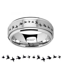 Spinning Engraved Flying Birds Tungsten Carbide Spinner Wedding Band - 8mm