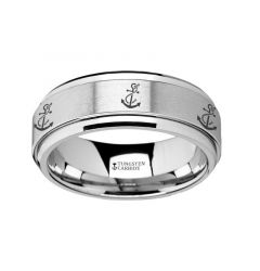 Spinning Engraved Artistic Anchor Tungsten Carbide Spinner Wedding Band - 8mm