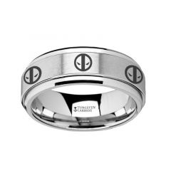 Spinning Engraved Deadpool Mercenary Symbol Tungsten Carbide Spinner Wedding Band - 8mm