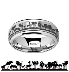Spinning Engraved Wild Horse Scene Tungsten Carbide Spinner Wedding Band - 8mm