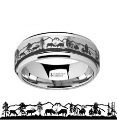 Spinning Engraved Elk Deer Stag Mountain Range Tungsten Carbide Spinner Wedding Band - 8mm