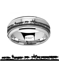 Spinning Engraved Herding Cattle Tungsten Carbide Spinner Wedding Band - 8mm