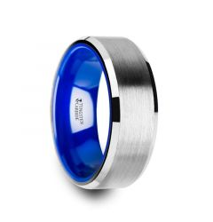 SIRIUS Flat Beveled-Edged Tungsten Ring with Brushed Center and Vibrant Blue Ceramic Inside - 8mm