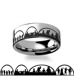 Mos Eisley Cantina A New Hope Star Wars Greedo and Han Solo Tungsten Engraved Ring - 4mm - 12mm