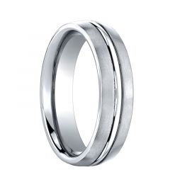 CORNELIUS Domed with Center Groove Cobalt Chrome Wedding Band by Benchmark - 6mm