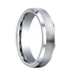 OPTIO Beveled Cobalt Chrome Wedding Band with Brushed Center by Benchmark - 6mm