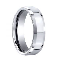 COMMODO Beveled Cobalt Chrome Ring with Polished Finish by Benchmark - 7mm