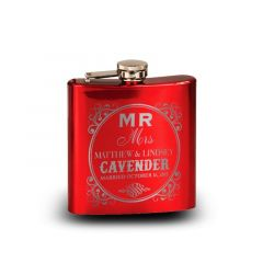6 Oz. Personalized Stainless Steel laser Engraved Flask - Red, Blue and Matte Black