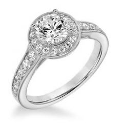 CZARINA Halo Diamond Engagement Ring Accents