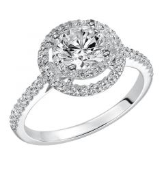 MAJESTY Double Halo Diamond Engagement Ring Diamond Accented Band