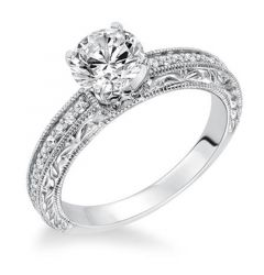 EMPRESS Four Prong Diamond Engagement Ring Filigree Band