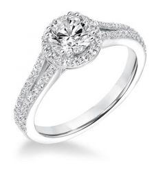 SCYLLA Halo Four Prong Diamond Engagement Ring Encrusted Split Band