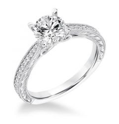 AMOR Four Prong Diamond Engagement Ring Filigree Band