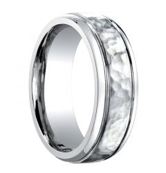 LEGATUS Hammered Finish Cobalt Chrome Wedding Band with Grooved Edges by Benchmark - 7mm