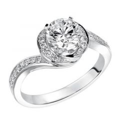 APHRODITE Spiral Halo Diamond Engagement Ring Pav