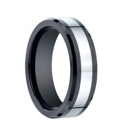ALARIS Beveled Black Ceramic Ring with Cobalt Chrome Inlay by Benchmark - 7mm