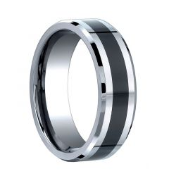 ARMATUS Beveled Cobalt Chrome Ring with Black Ceramic Inlay by Benchmark - 7mm