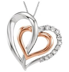 "Sterling Silver 14kt Rose Gold Plated .03 CTW Diamond Heart 18"" Necklace"