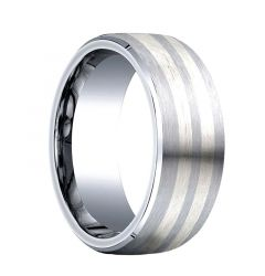 PRAECO Cobalt Chrome Wedding Band with Dual Silver Inlay by Benchmark - 8mm