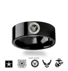 Military Symbol Logo Engraving Flat Polished Black Tungsten Ring - Army, Coast Guard, Navy, Marines, Air Force - 4mm - 12mm